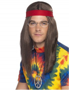 Hippie Kostüm-Set mit Perücke bunt