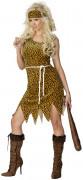 Neandertalerin Steinzeitfrau Damen-Kostüm leo-braun