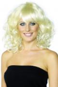 Discostar Locken-Perücke mit Pony blond
