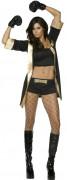Sexy Boxerin Damenkostüm schwarz-gold