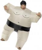 Aufblasbarer Sumo Ringer Kostüm Fatsuit schwarz-weiss