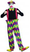 Clown Herrenkostüm mit Hosenträgern bunt