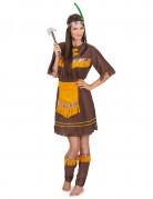 Indianerin Damenkostüm braun-gelb