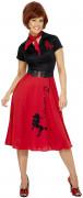 50er Jahre Kleid Rock n Roll Kostüm rot-schwarz