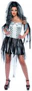 Horror Monster Braut Damen-Kostüm schwarz-silber