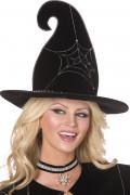Hexenhut mit Spinnennetz Halloween-Accessoire schwarz-silber