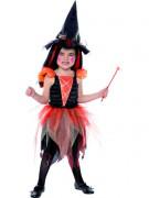 Kleine Fee Hexe Kinder-Kostüm schwarz-orange