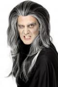 Vampir-Perücke gesträhnt schwarz-weiss