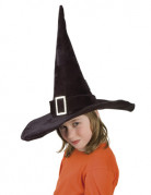 Kinder Hexenhut mit Schnalle schwarz-silber