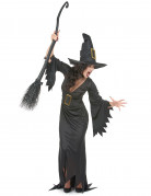 Damen Halloween-Kostüm Hexe schwarz-gold