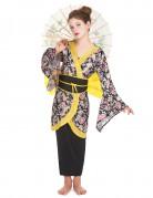 Japanerin Mädchenkostüm Geisha-Kostüm schwarz-gelb-bunt