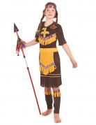 Indianermädchen Squaw-Kostüm mit Fransen braun-gelb