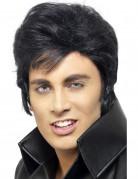 Elvis Perücke mit Koteletten Lizenzware schwarz