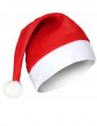 Nikolausmütze Weihnachten mit Bommel rot-weiss