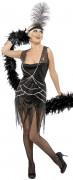 Partykleid Zwanziger Kostüm schwarz-silber