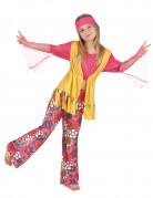Hippie-Kinderkostüm Flower Power Mädchen pink-gelb