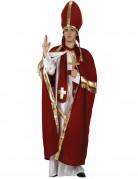 Bischof Herren-Kostüm rot-gold