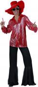 Flippiger Disco-Herrenanzug mit Glanzeffekt rot-schwarz