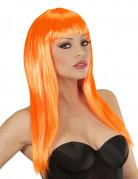 Neon Perücke mit Pony schulterlang orange