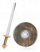 Krieger-Set für Kinder Schild und Schwert braun-silber-gold