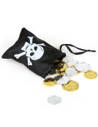 Piratenbeutel mit Münzen Party-Deko schwarz-weiss 10,5x13cm