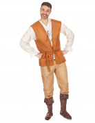 Mittelalterlicher Bauer Kostüm orange-beige