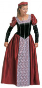 Burgfräulein Mittelalter Damenkostüm schwarz-rot-weiss