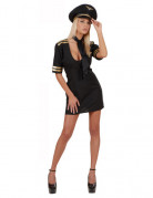 Pilotin Damenkostüm Stewardess schwarz-gold