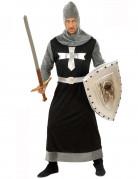 Schwarzer Ritter Kostüm schwarz-grau-silber
