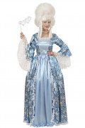 Barock Damenkostüm in Theaterqualität weiss-blau