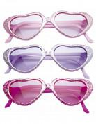 Herzchen Glitzer-Brille für Kinder hellrosa