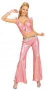 70er Disco Glitzer-Schlaghose Damen rosa