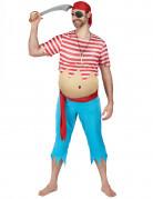 Lustiger Pirat Kostüm Freibeuter blau-weiss-rot