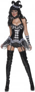 Cirque Sinister Teuflischer Harlekin Damenkostüm schwarz-weiss