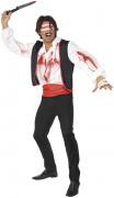 Horror Zirkus Messerwerfer Kostüm, weiß-rot