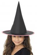 Hexenhut für Kinder schwarz-pink