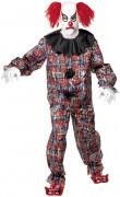 Zombie Clown Halloween-Kostüm schwarz-weiß-rot