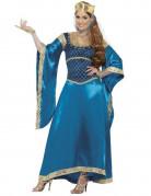 Mittelalterliche Königin Drachenkönigin Deluxe Damenkostüm blau