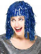 Folien-Perücke Lametta-Damenperücke blau
