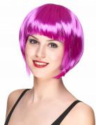 Glänzende Disco-Damenperücke Bob-Haarschnitt pink
