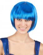 Glatte Bob-Perücke Spassperücke neon blau