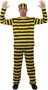 Schlichter Häftling Erwachsenenkostüm gelb-schwarz