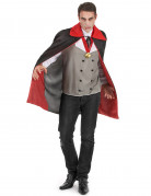 Herrenkostüm Vampir Halloween schwarz-rot-grau