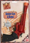 Western-Colt Cowboy-Pistole mit Sheriff-Stern rot-schwarz-silber