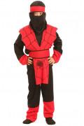 Ninja-Kinderkostüm Spinnennetz rot-schwarz