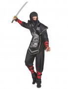 Ninjakrieger-Herrenkostüm Asien-Kostüm schwarz-silber-rot