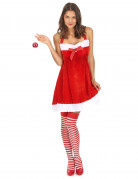 Sexy Weihnachtsfrau Damenkostüm mit Schleife rot-weiss