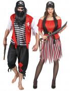 Piratenkostüm für Paare schwarz-rot-weiß