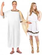 Römisches Kaiserpaar - Kostüm für zwei Erwachsene - Weiß mit Gold