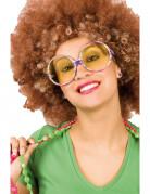 Hippiebrille Erwachsene bunt gestreift